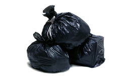 A lot of garbage bag. S, tied up with ropes, on white background Stock Images