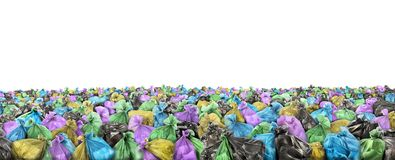 A lot of garbage bags on a white background. Stock Image