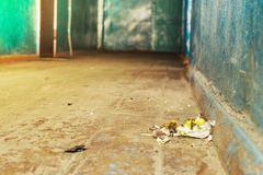 A lot of garbage on the floor in the hallway of the hostel. front and background blurred with bokeh effect stock photo