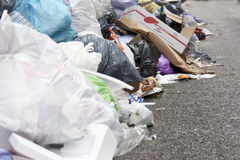 A lot of garbage in the street Stock Photos