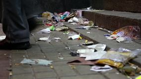 A lot of garbage on the street. A lot of garbage lying on the street stock video