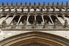 A lot of Gargoyles on Notre-Dame. DIJON, FRANCE, May 20, 2018 : Gargoyles of Notre-Dame of Dijon, a Roman Catholic church considered a masterpiece of 13th Stock Photography