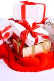 A lot of gifts with ribbons Royalty Free Stock Photos