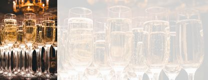 A lot of glasses of champagne in a luxurious atmosphere. Secular reception, new year, wedding,. Panorama with copy space stock images