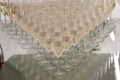 Lot of glasses filled with champagne on the party table Royalty Free Stock Photography