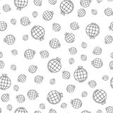 A lot of globes of different sizes on a white background, simple seamless pattern. stock illustration