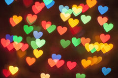 A lot of glowing multi-colored hearts Royalty Free Stock Photography