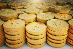 A lot of gold coins in stacks. Close up Royalty Free Stock Photography