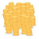 Isolate big pile of gold coins money Royalty Free Stock Images