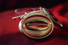 Lot of golden bracelets royalty free stock image