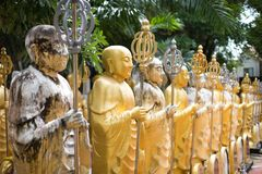 A lot of golden buddhist monk statue. With stain and staff on the hand Stock Image
