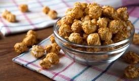 A lot of golden caramel corn. Close up Stock Photo