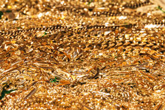 Many golden chains Royalty Free Stock Photo