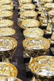A lot of golden cups for champion Royalty Free Stock Images