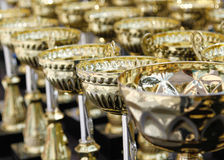 A lot of golden cups for champion Royalty Free Stock Photo
