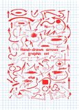 The arrows in red ink on notebook sheet stock illustration