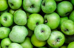 A lot of green apples on the whole frame Royalty Free Stock Photos