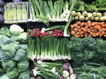 Lot of Green Fresh Vegetables, Fresh Produce on sale royalty free stock image