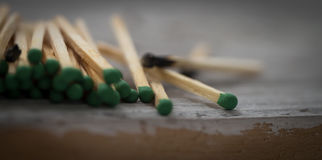 Lot of green matches and one burnt, leadership, light background Stock Image