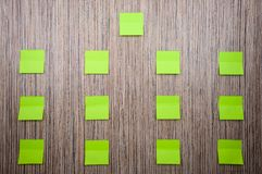 Lot of green stickers for notes on a wooden background. Mockup for designer stock images
