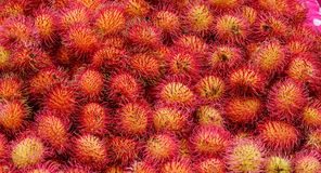A lot of hairy rambutan fruits. At a local market Stock Images