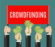 Lot of hands hold a placard and money. Businessmans hands. A lot of hands hold a placard and money. Businessmen giving a cache. Investing or crowdfunding Stock Photos