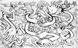 Cartoon Hands Chaos Stock Image