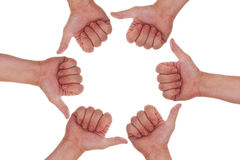A lot of hands with thumbs up making a circle Royalty Free Stock Images