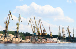 A lot of harbor crane Stock Image