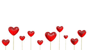 A lot of heart shaped lollipops Royalty Free Stock Photography