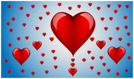 A lot of hearts for Valentine's Day. On a blue background Stock Photos