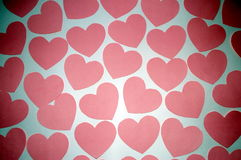 A lot of hearts on a white background, the day of St. Valentine Royalty Free Stock Photos