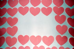 A lot of hearts on a white background, space for text and labels, the day of St. Valentine Stock Photos