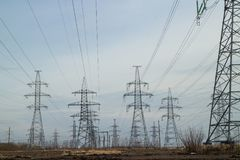 A lot High voltage power lines Stock Photos