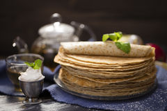 A lot of homemade crepes Royalty Free Stock Photos