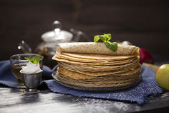 A lot of homemade crepes Stock Photography