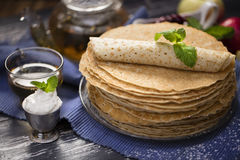 A lot of homemade crepes Stock Photo