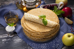 A lot of homemade crepes Royalty Free Stock Photo
