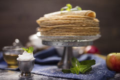 A lot of homemade crepes Stock Photos