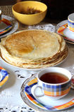 Lot of homemade pancakes Stock Photo