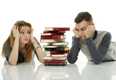 A lot of homework to do, at least we're together Royalty Free Stock Image