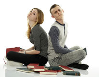 A lot of homework to do, at least we're together Stock Photo