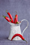 Lot of hot chili pepper in a metal gray basket Royalty Free Stock Images