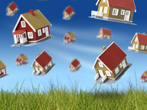 Lot of houses falling from sky. Royalty Free Stock Photos