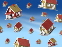 Lot of houses falling from sky. Stock Images