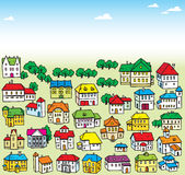 Lot of houses. The illustration shows many a variety of cartoon house. Illustration done on separate layers, in a cartoon style Stock Image