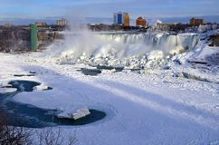 The American side of the Niagara Falls in the winter. royalty free stock photos