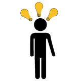 Lot of ideas. A person having a lot of ideas in a white background Royalty Free Stock Photography