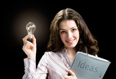 Lot of idias. A business lady with a lot of idias Stock Photos