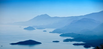 A lot of islands in lake Royalty Free Stock Photo
